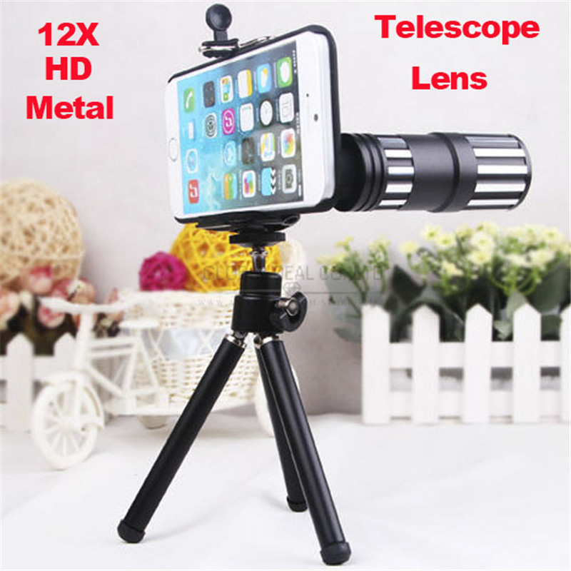 New Aluminum Metal 12X Zoom Mobile Phone Telescope Lens High Clear Telephoto Len Camera Kit For iphone 6 plus With Tripod Case(China (Mainland))