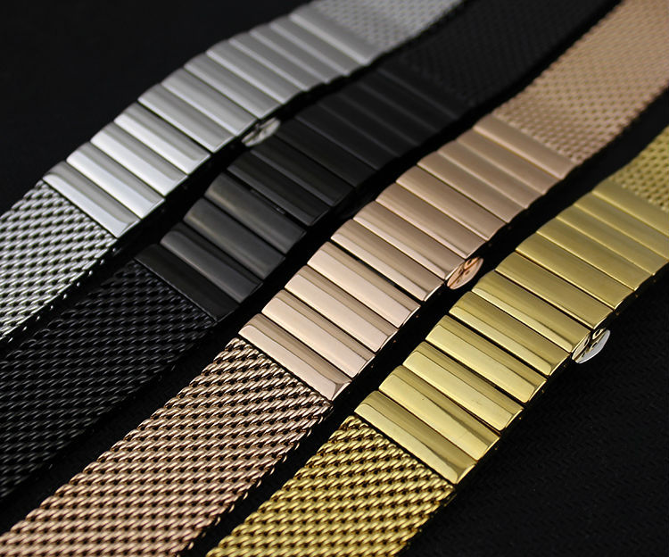 Best Selling Silver Black Rosegold Gold Watchbands Mesh Stainless Steel Watchband Bracelets 20mm 22mm Luxury