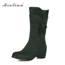 Invierno nieve botas de piel zapatos de cuña de la plataforma tacones altos a media pierna flor moda mujer botas marrón azul rojo de gran tamaño 12 13 14(China (Mainland))