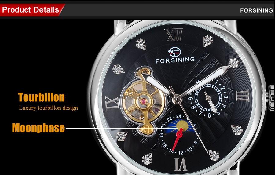 Мода Повседневная FORSINING moon phase/час дисплей мужские часы мода турбийон наручные часы автоматические Механические часы/A830