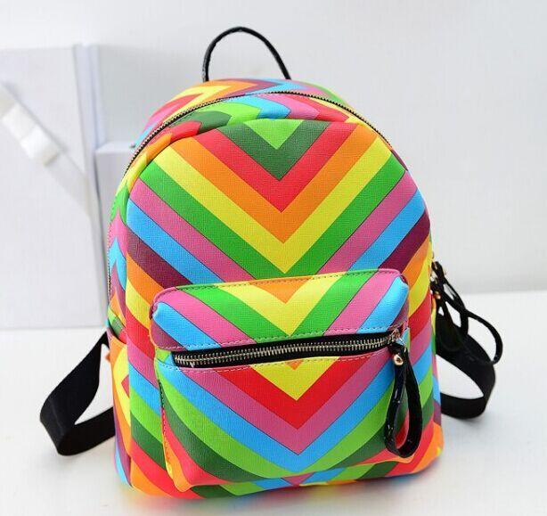 Новая радуга подиум моделей рюкзак, Конфеты цветов ударил цвет качества PU сумка, Высокая - класс опрятный сладкий дамы сумки
