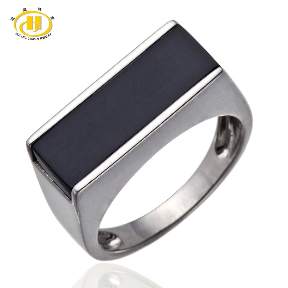 Mens Jewelry Black Agate Solid Sterling Silver 925 Ring Fine Jewelry<br><br>Aliexpress