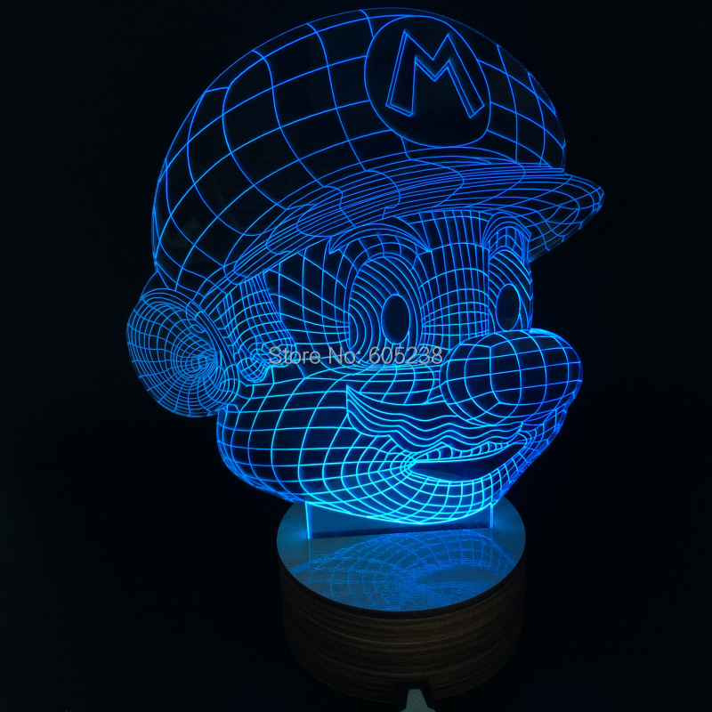 Free Shipping 1Piece Innovative Design Of Super Mario Figure Light Handmade 3D Bulbing Illusion Lamp LED Mood Light(China (Mainland))