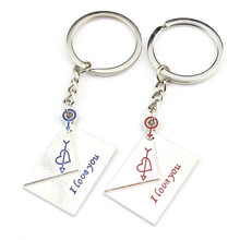 Couple Key Chain with Silver Plated Love Letter Pattern Key Ring for Lover's Women 2016(China (Mainland))