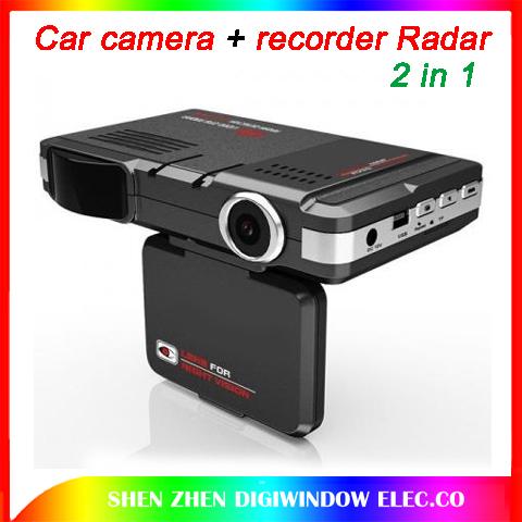 New Car camera video+recorder Radar Laser speed Detector recorder Universal 2in1 car DVR+RD (English+Russian broadcast )(China (Mainland))