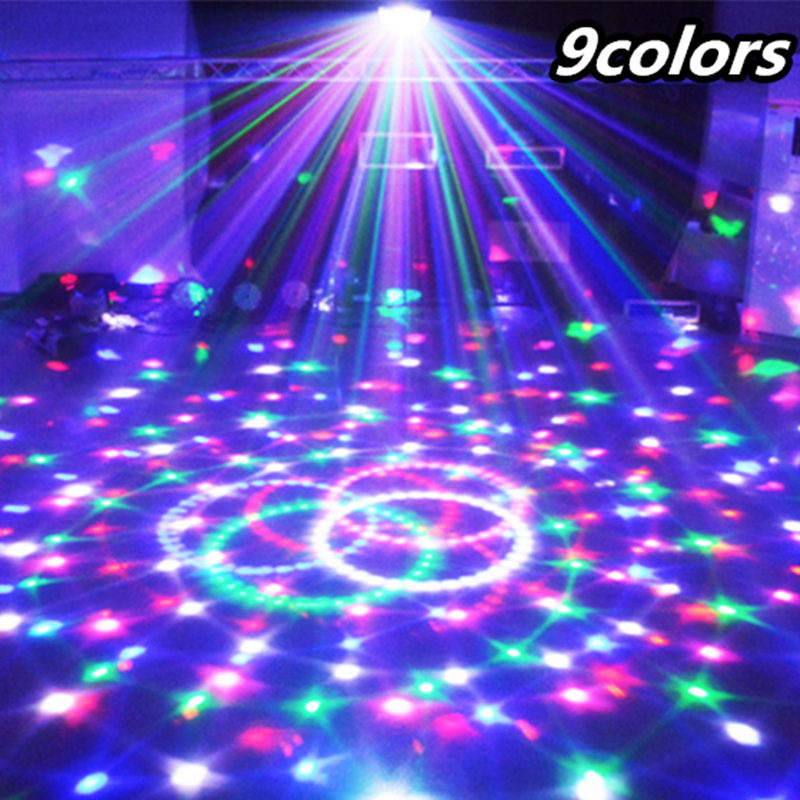 New Sound Control Christmas Laser Projector 9 Colors 27W Crystal Magic Ball Led Party Light 21Modes Disco Laser Light Stage Lamp(China (Mainland))