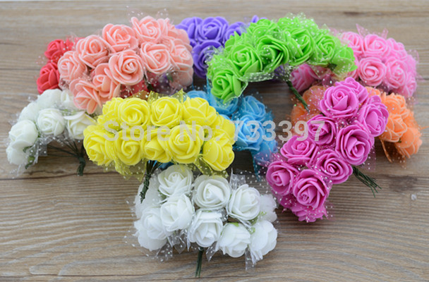 12pcs/bunch 2cm simulation flowers DIY Mini Rose Bouquet with gauze hand decorative flower(China (Mainland))