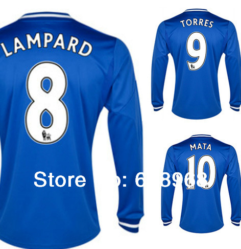 Lampard MATA HAZARD TORRES OSCAR Cole Jersey 13 14 Chelsea long sleeve Soccer Jersey TOP Thai Quality Home Jersey Free shipping(China (Mainland))