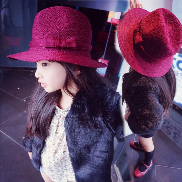 Винтажный дети мягкая фетровая шляпа вязание дерби шляпы, Сплошной большой Floopy краев дети Gorro дутый девочка милый дерби весна и зима