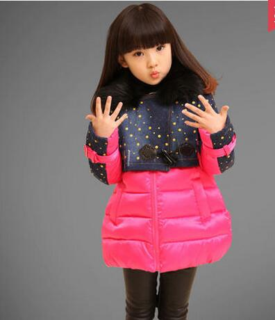 Female winter child outerwear children's clothing thickening cotton-padded jacket baby 2015 wadded jacket girl winter coat(China (Mainland))