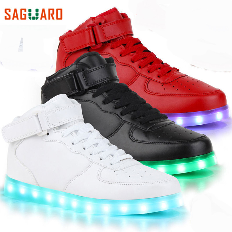 SAGUARO Children Fashion Luminous Shoes High Top LED Light USB Charge Flashing Sneakers Kids Boys Girls Casual Glowing Shoes(China (Mainland))