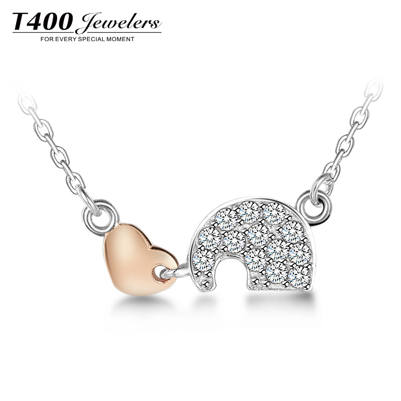 T400 Jewelers Brand Women Jewel Sterling Silver Heart Cubic Zirconia Pendant Necklaces Definitions Neck #10878 free shipping(China (Mainland))