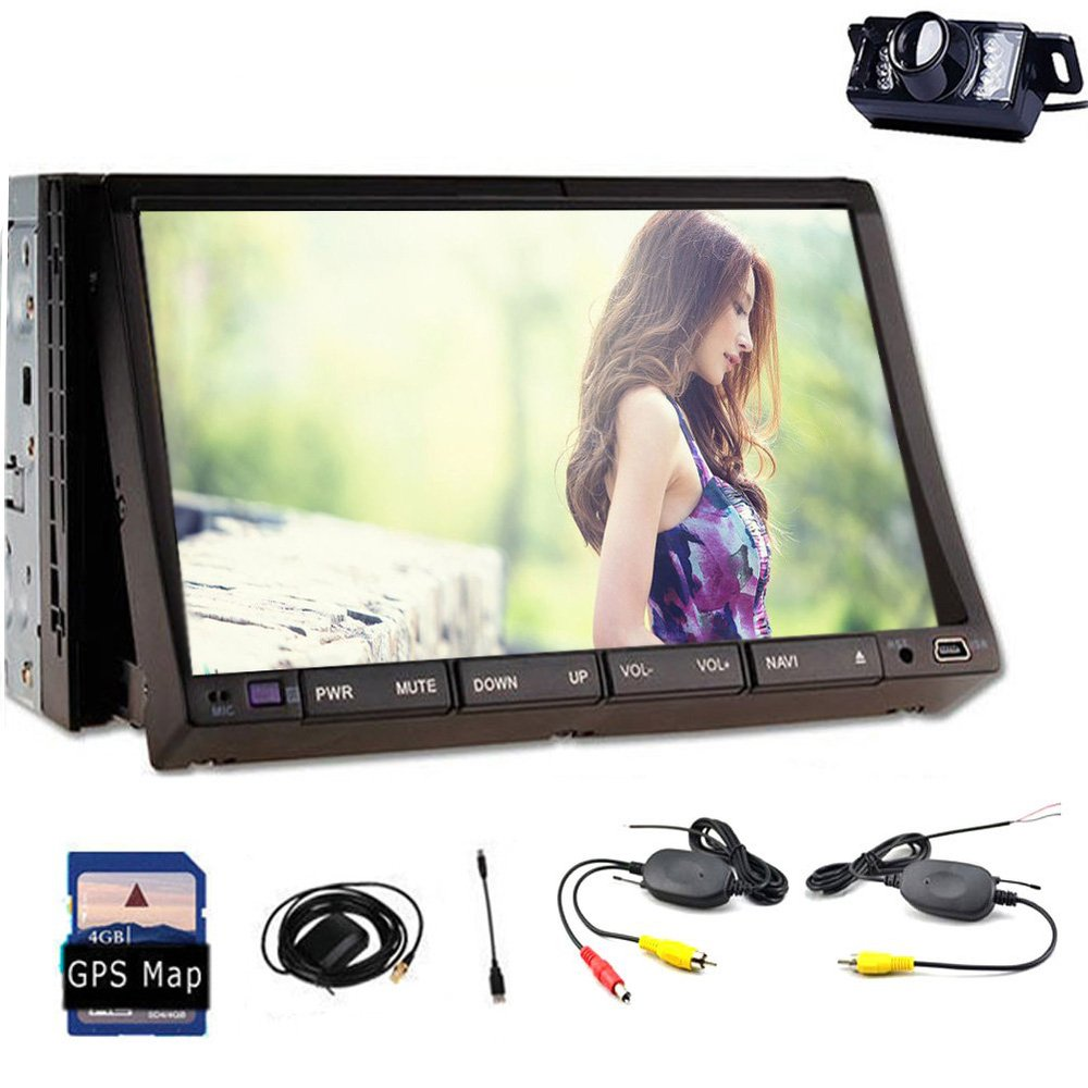 """InDash Navigation 7"""" inch Double 2 Din DVD Player GPS Video Player Headunit Car PC Bluetooth with Free Wireless Camera Included!(China (Mainland))"""