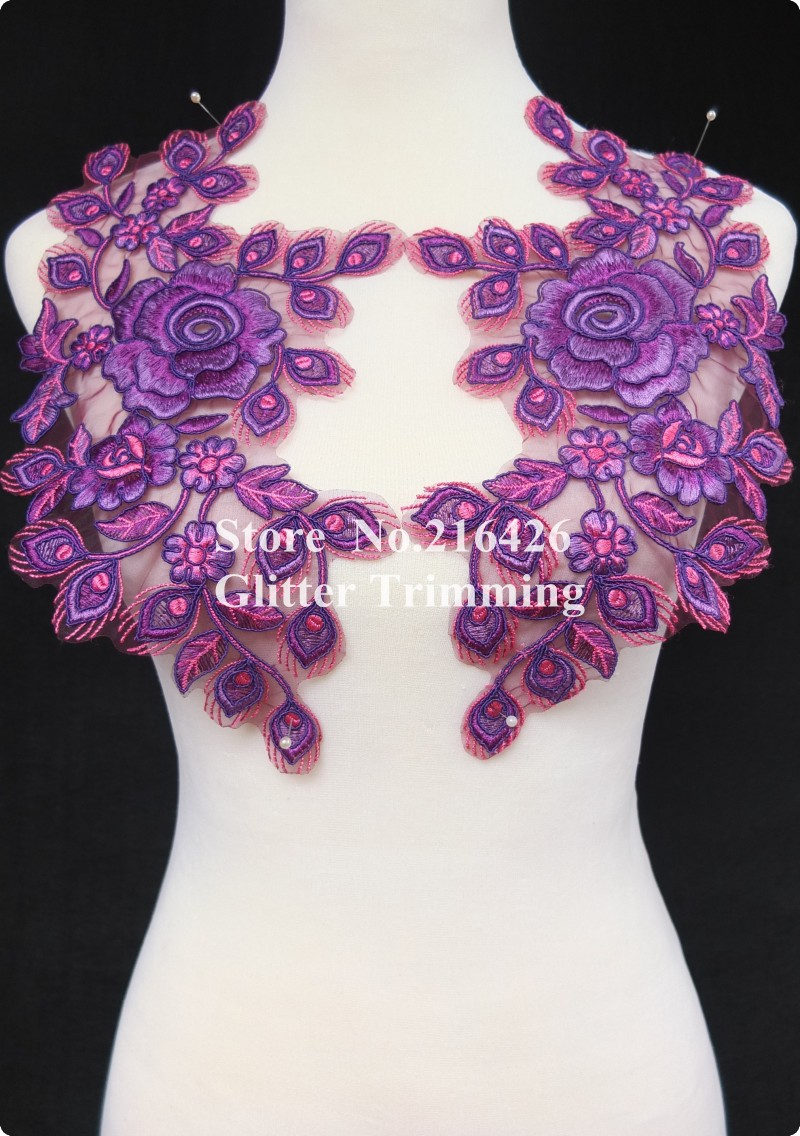1 Mirror Pair=2pcs x Beautiful Purple/Light Maroon Flower Embroidery Apparel Sewing Lace Appliques Trims Patches Fringe BNC113O(China (Mainland))