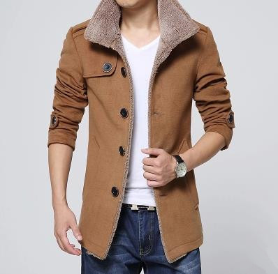 2015Winter Fashion Men's Lambs Wool Lining Jacket Coat , Male Thick Warm Jacket Outerwear Male Slim Fit Trench Coat,T2826(China (Mainland))