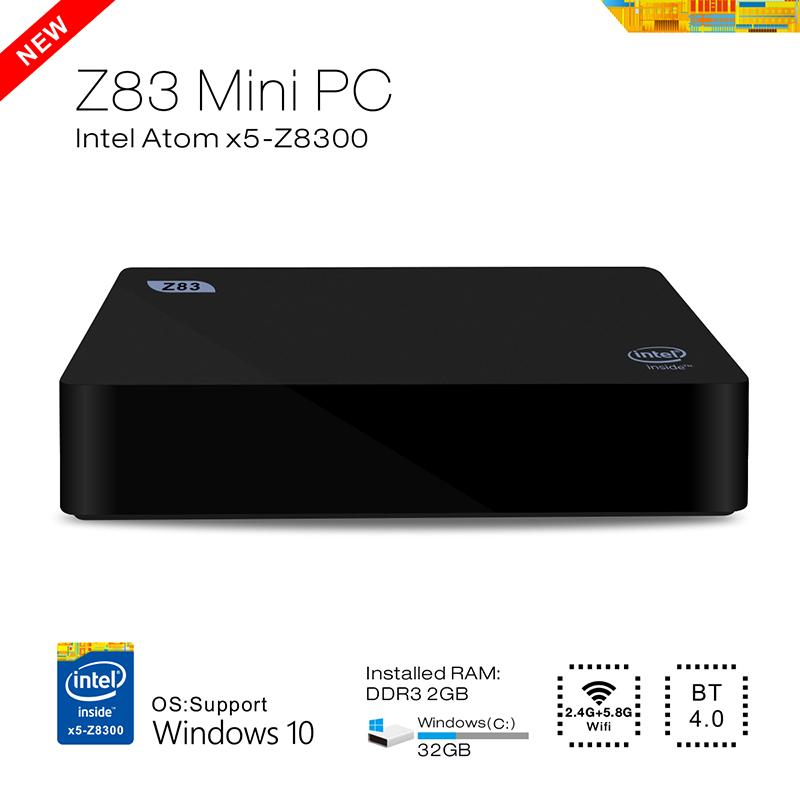 Hot DMY Mini PC Z83 Intel box support WiFi BT4.0 1000 Mbps Ethernet Windows 10 OS pc Atom X5-Z8300 2G/32G Quad-core Media Player(China (Mainland))