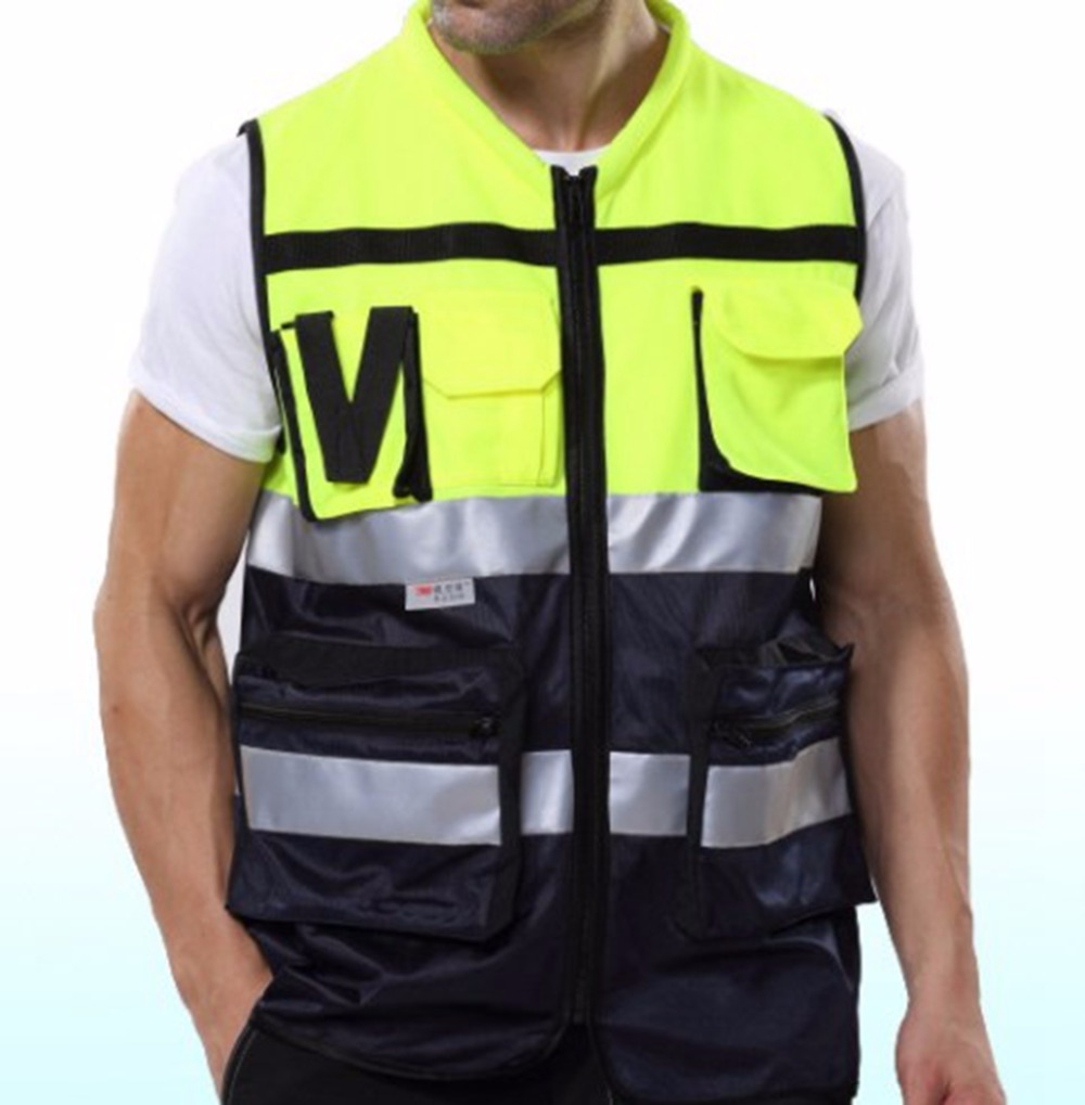 Yellow Black Work Clothes Reflective Safety Vest Chaleco Reflectante Gilet Jaune Securite 3M Reflective Tape