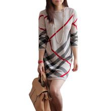 women winter dress robe hiver 2016 women's wool knitted large size long-sleeve stripe one-piece warm wool sweater dress ,B3658(China (Mainland))