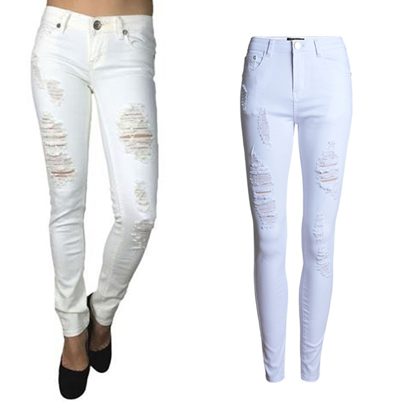 White Skinny Jeans With Holes - Xtellar Jeans