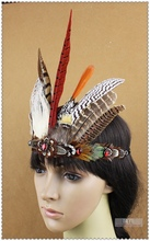 Free Shipping New Indian Tribal Chiefs Feather Headdress Hair Accessories Stage Performance Headwear Head Band For Costume Dance(China (Mainland))