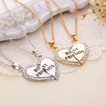 Buy Best Friends Pendant Necklaces Heart Shape BFF necklaces Rhinestone Gold Silver Half Half Gift Friends Friendship Jewelry for $1.49 in AliExpress store