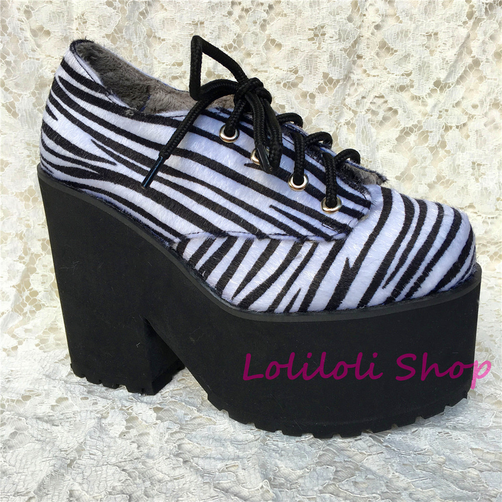 Princess sweet lolita shoes Loliloliyoyo antaina gothic Japanese design cos shoes custom thick bottom Zebra stripes shoes 9618