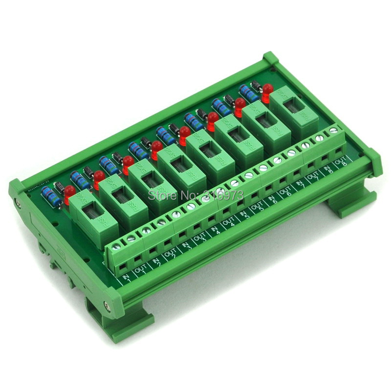 8 Channel Fuse Interface Module, for DC 5~48V, Din Rail Mount, w/ Fail Indicator<br><br>Aliexpress