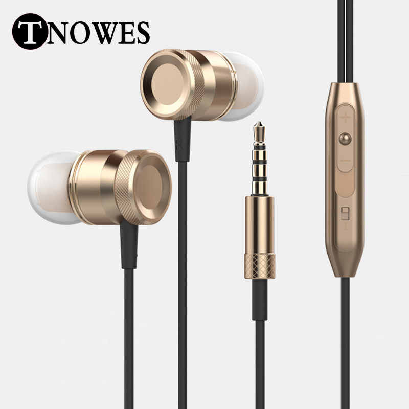 Stereo HeadPhone In Ear Earphone Metal Handsfree Headset with Mic 3.5mm Earbuds For All Phone MP3 Player(China (Mainland))
