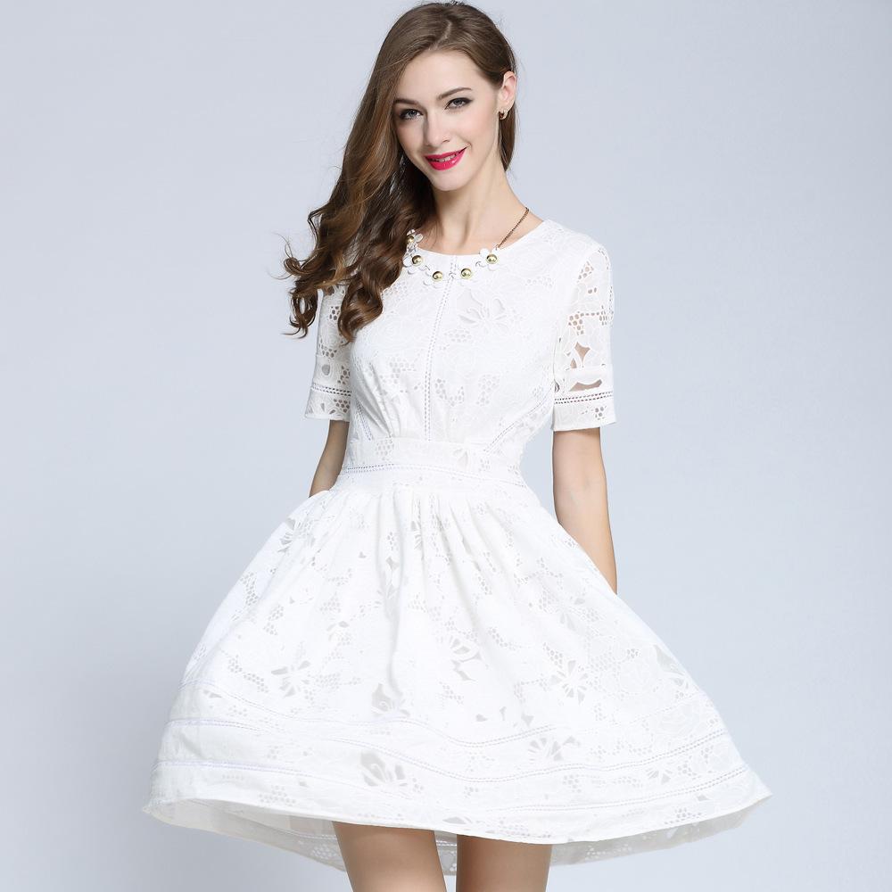 2015 summer new princess Kate same style burning flowers Slim was thin hollow dress white elegant dress(China (Mainland))