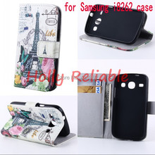 Fashion Design Style Flip PU leather Case For Samsung Galaxy Core I8260 I8262 GT-I8262 8260 8262  Wallet Stand with card holder(China (Mainland))