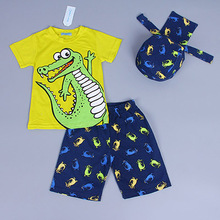 Retail 2016 New Summer children clothing set boy child scarf+short sleeve t-shirt+shorts 3pcs beach suit kids clothes(China (Mainland))