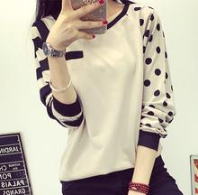 2015New Fashion Women T-Shirt O Neck Polka Dot Long Sleeves shirt Decoration Casual Tops(China (Mainland))
