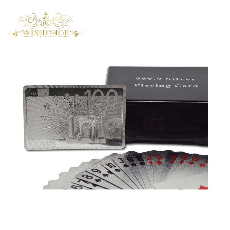 wedding gifts euro 100 silver plastic playing cards silver foil playing card with wooden case for casion royale