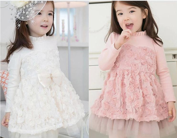 2014 New autumn baby girl dress pink long sleeve rose cute girls princess children dresses