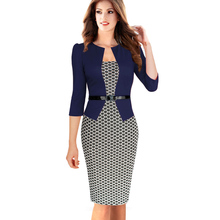 Plus size 4XL Office Dress Womens Elegant Faux Twinset Belted Tartan Floral Patchwork Work Business Pencil Sheath Bodycon Dress