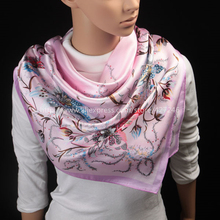 Free Shipping Lowest Price Women New Arrival Fashion 90cm*90cm Big Size Square Silk Scarves Brand Style Flower Girl Wraps(China (Mainland))