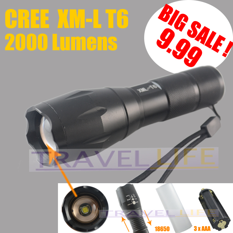 UltraFire E17 CREE XM-L T6 2000Lumens High Power Torch Zoomable LED Flashlight Torch light For 3xAAA or 1x18650 - Free shipping