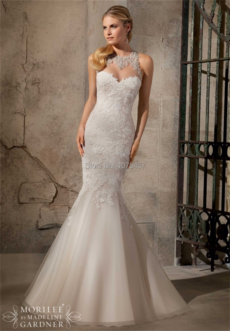 New arrival sexy keyhole back wedding dress 2015 halter for Mermaid halter wedding dresses