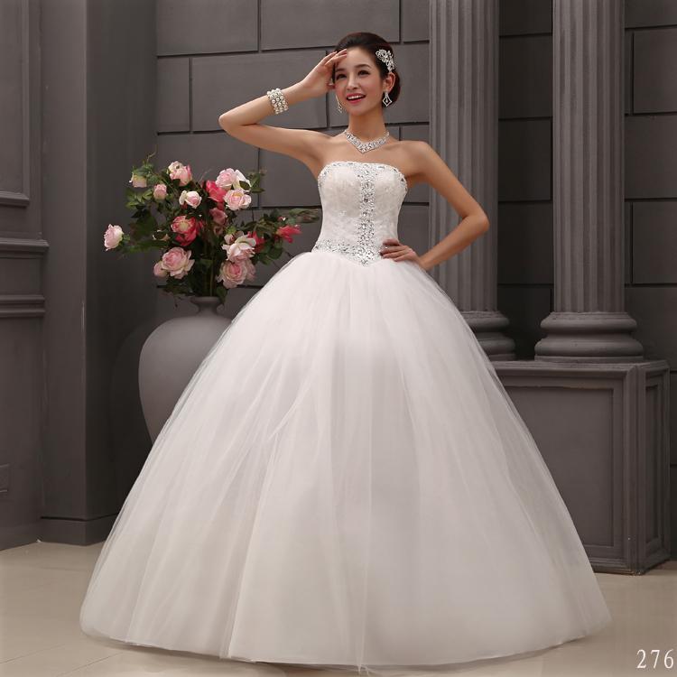 New White Wedding Dress Strapless Beading Crystal Bridal