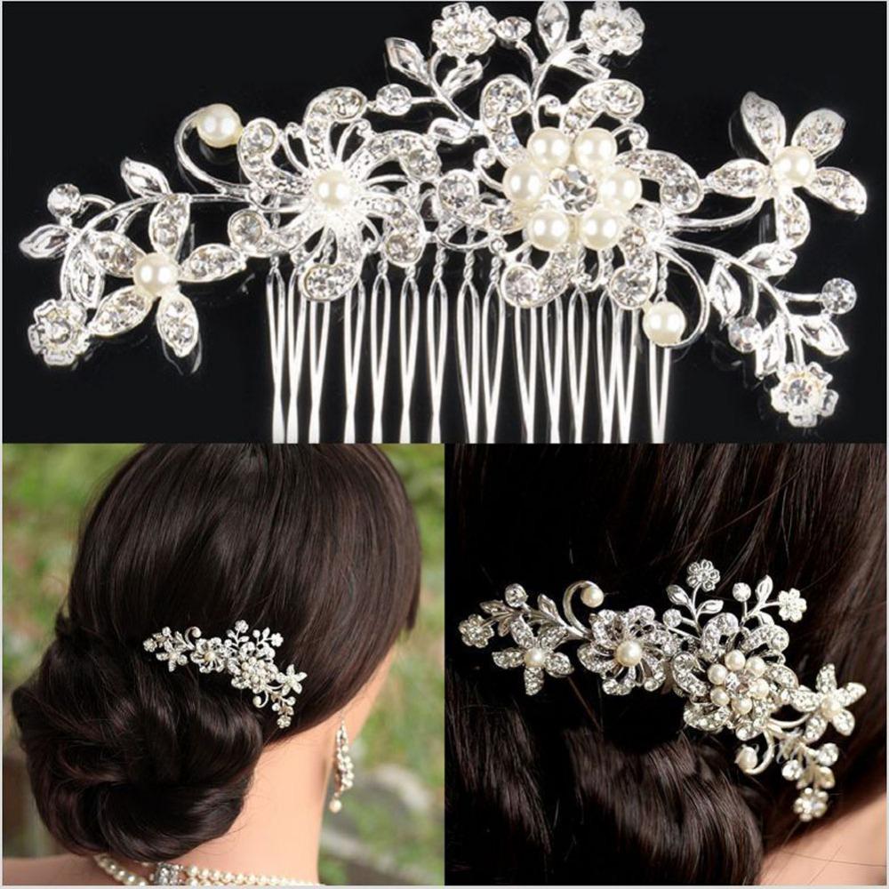 #Cu3 New Bridal Wedding Flower Crystal Rhinestone Hair Clip Comb Pin Diamante Silver(China (Mainland))