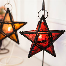 1PC Shiny Colorful Glass Star Romantic Decorative Candle Holder Weeding Candle Sticker Home Store Decoration Gift(China (Mainland))