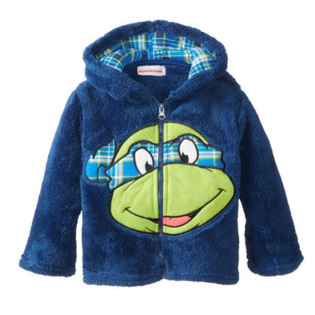 Новый 2016 Осень Teenage Mutant Ninja Turtles Мальчики Девочки Детская Одежда Теплая Верхняя Одежда Пальто толстовка Мультфильм Baby Дети Толстовки