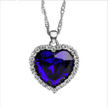 925 Silver Titanic Heart Of The Ocean Necklace Pendants For Women Crystal Rhinestone Jewelry Choker Necklace (China (Mainland))