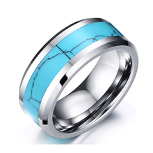 8mm Tungsten Carbide Turquoise Ring Wedding Engagement Bands Ring For Men Women Vintage Jewelry(China (Mainland))