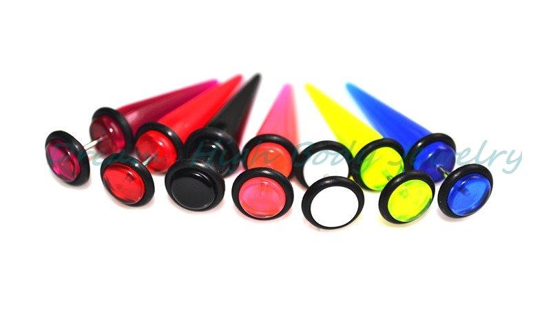 7 Colors Fake Ear Expander Cheater Earring UV Acrylic 8mm ball 14G bar Flesh Plug Stretcher Piercing Body Jewellery NEW - Dream High Jewelry store