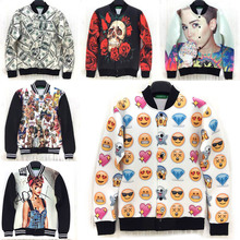 2015 New Spring casual-jacket Miley Cyrus/Rihanna/skull/emoji/rose/money/dog print 3D jacket men outdoors sportswear coat(China (Mainland))