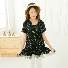 2014 Rushed Seconds Kill Cotton Short Vestidos Plus Size Clothing Summer Short-sleeve Dress Mm Loose Gentlewomen Floral Print(China (Mainland))