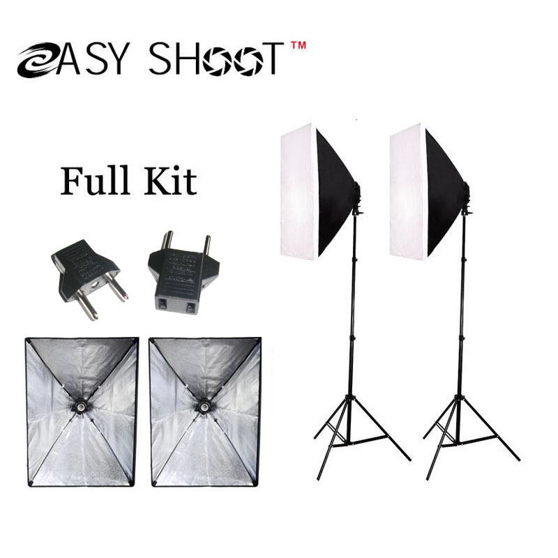 ! Free Tax Russia 100-240V Photo Studio photography lighting Continuous Lighting Softbox Kit /Light stand - Shanghai Easy Shoot Technology Co.,Ltd store