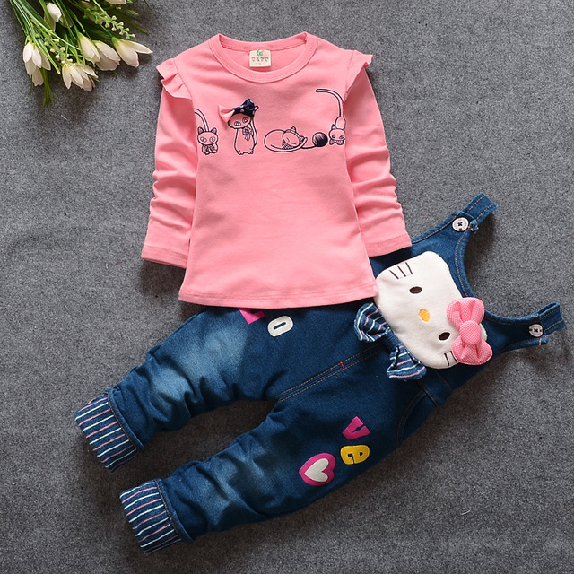 Новый осень девочки комплект одежды малыша джинсовые комбинезоны джинсы брюки + блузка ...