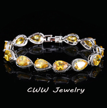 High Quality Pear cut Connected Yellow Stone Cubic Zirconia Diamond Bracelets For Women Jewelry  CB127(China (Mainland))